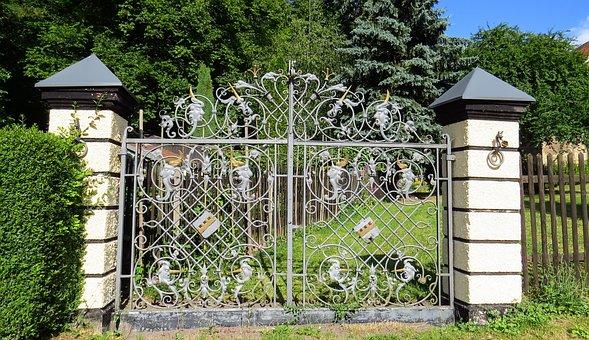 Goal, Garden Gate, Wrought Iron, Iron, Old, Nostalgia