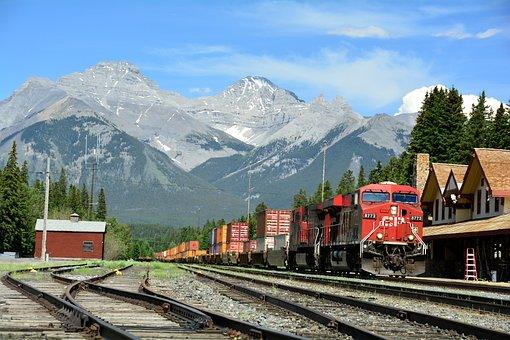Banff, Train Station, Depot, Train, Engine, Rails
