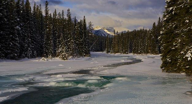National Park, Canada, River, Ice, Water, Landscape