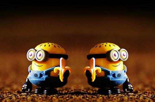 Minions, Funny, Double, Banana, Fun, Figures