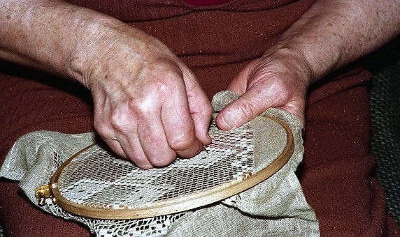 Grandma, Woman, Craft, The Needle, Old, Hole, Hand