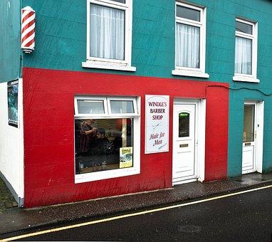 Ireland, Barber Beauty Shop, Barbershop, Building, Red