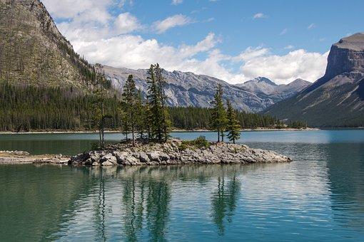 Lake Minnewanka, Banff, Alberta, Island, Lake, National
