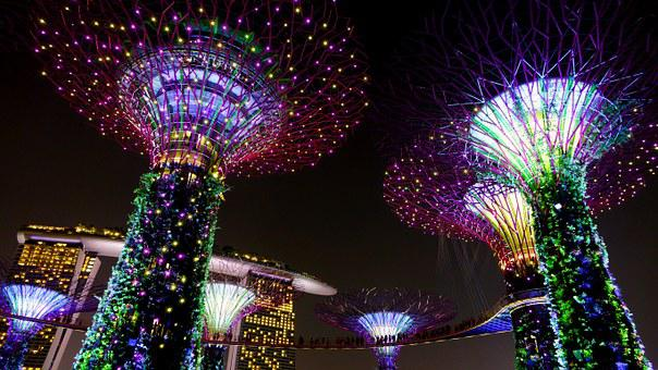Garden By The Bay, Singapore, Night, Lighting, Landmark