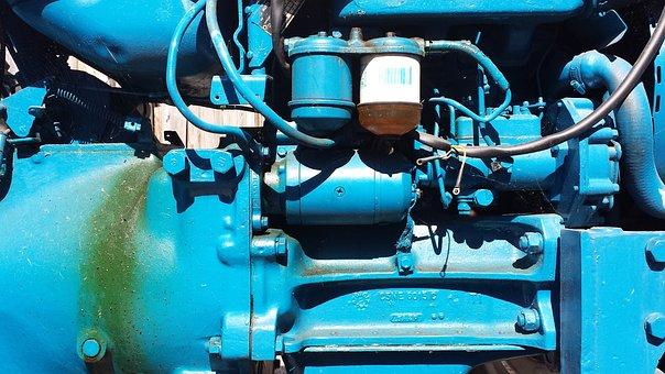 Motor, Technology, Blue, Light Blue, Machine, Piston