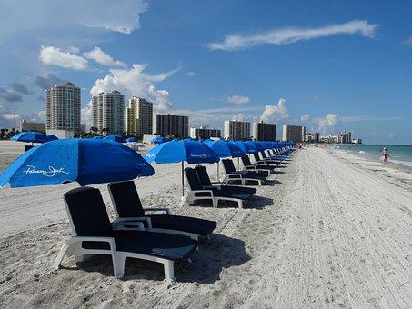 Beach, Clearwater, Chairs, Tents, Mar, Ocean