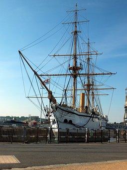 Sailship, Masts, Hull, Sea, Ocean, Dockyard, Lanyards