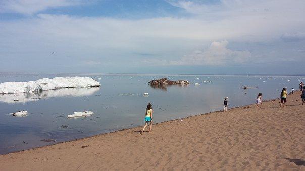 Ice, Summer, Lake, Superior, Minnesota, Frozen, Odd