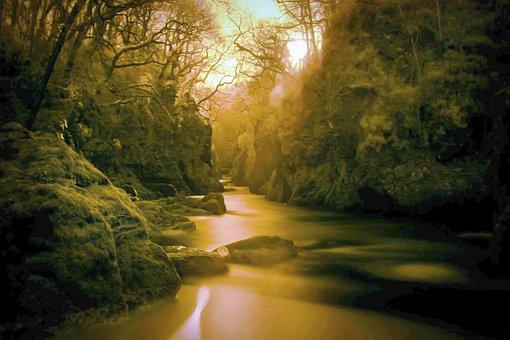 River, Infrared, Ir, Gold, Water, Landscape, Rock, Wood