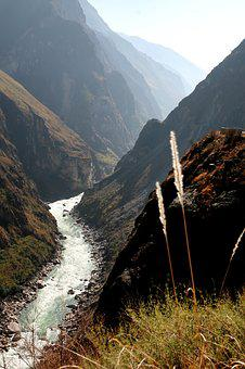 Tiger Leaping Gorge, Mountain, Sunset, Grass, Autumn