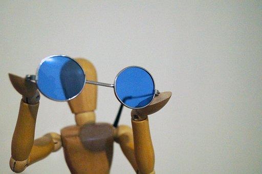 Glasses, Wood, Manikin, Wood Manikin, Showing, Blue