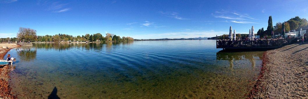 Panorama, Lake, Water, Bank, Blue Sky, Germany, Bavaria