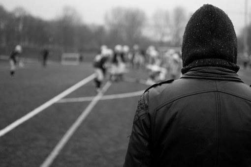 Rugby, Watching, Winter, Black And White, Cheering