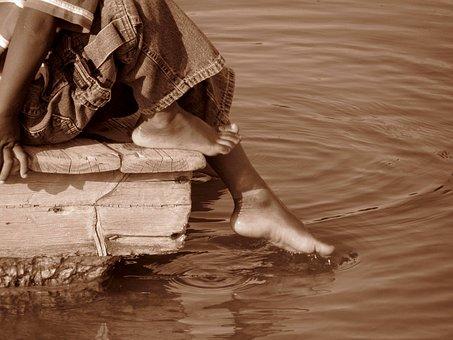 Toe In Water, Foot In Water, Water, Child, Boy