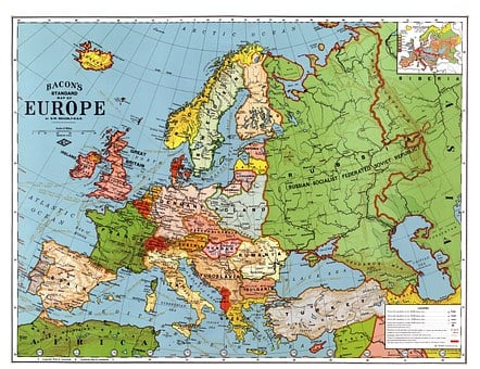 Europe, Map, 1923, Country Breakdown, Country, Borders