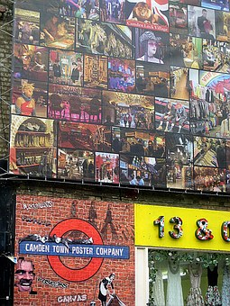 Building, Facade, Posters, Camden, London, English