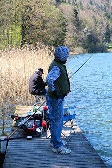 Lake, Fishing Pier, Fischer, Angel, Fishing Tackle
