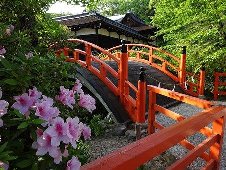 Shimogamo Shrine, Bridge, Flowers