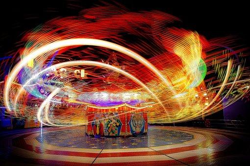 Fair, Fairground, Carousel, Light Traces, Folk Festival