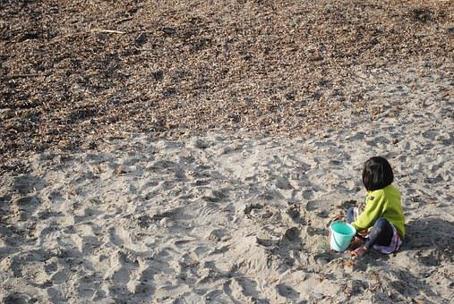 Child Playing In Sand, Little Girl, Girl, Child, Sand