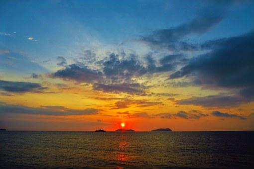 Sunset, Sea, Glow, Cloud, Nature, Landscape, Beach