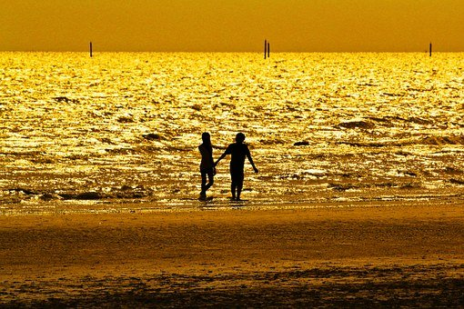 Gold, Sea, Black Shadow, Couple Pictures, Beach