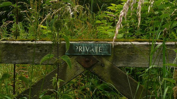 Private, Background, Grass, Wood, Gate, Land, Boundary