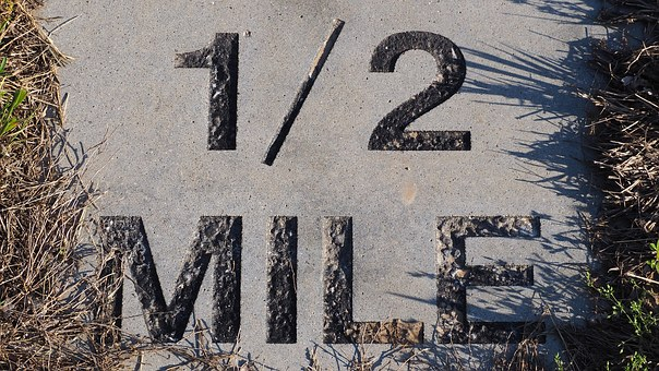 Half Mile Marker, Marathon Marker, Half Mile, Running