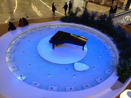 Piano, Fountain, Hypermarket
