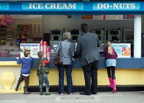 Ice Cream, Doughnut, Stall, Man, Woman, Children