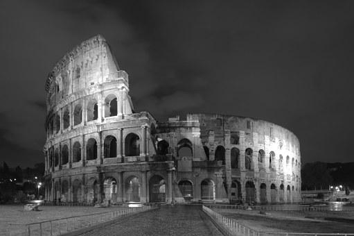 Colloseum, Rome Night, Black And White, Ancient, Italy