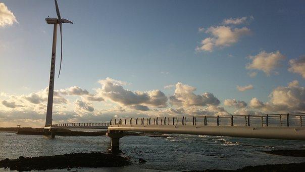 Jeju Island, Landscape, Sky, Wind Power Generator