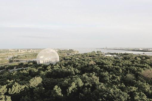 Biosphere, Landscape, Trees, Montreal, Water, Bridge