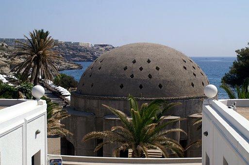 Greece, Rhodes, Kallithea, Dome, Sea, Palm, Mood
