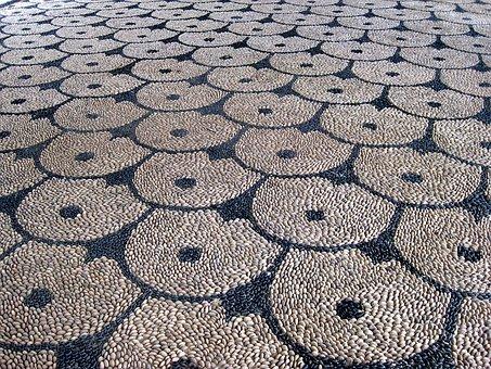 Mosaic, Stones, Floor, Rhodes, Kalithea, Grey, Pattern