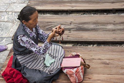 Prayer, Temple, Woman, Praying, Beads, Rolling, Holy