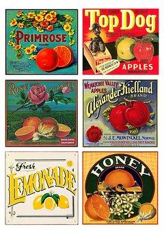 Labels, Vintage, Fruit, Products, Collage, Scrapbooking