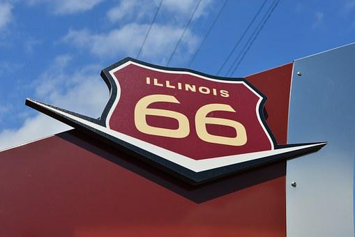 Highway, Route 66, Marker, Road Sign, Illinois