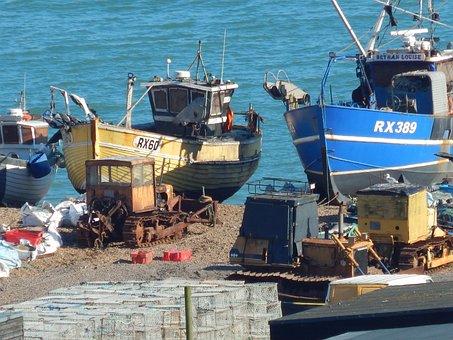 Fishing Boats In Hastings Uk, Fish, Fishing, Boat, Sea