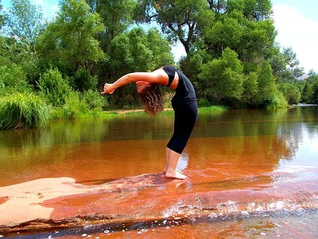Yoga, Backbend, Nature, Woman, Fitness, Sports
