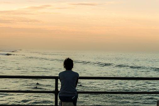 Sunrise, Woman, Watching, Sea, Sky, People, Beach