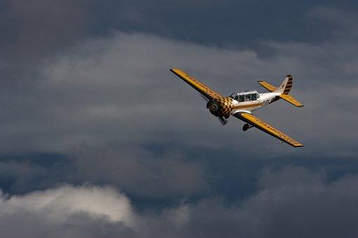 Aviation, Plane, Two Seater, Stunt, Yellow, White