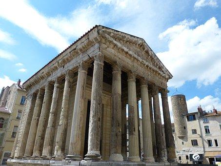 Temple, Pillar, Vienne, Antique, Ancient Times, Roman