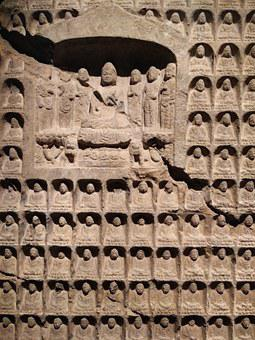 China, Ancient, Culture, Figures, Wall, Carving, Stone