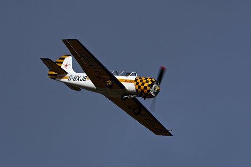 Aviation, Two Seater, Propeller, Plane, Yellow, White