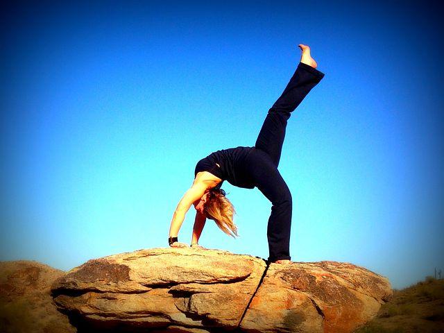 Yoga, Backbend, Blue Sky, Fitness, Woman, Girl