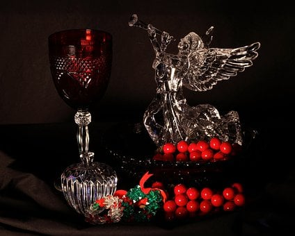 Christmas Still Life, Holiday Decoration, Angel, Goblet