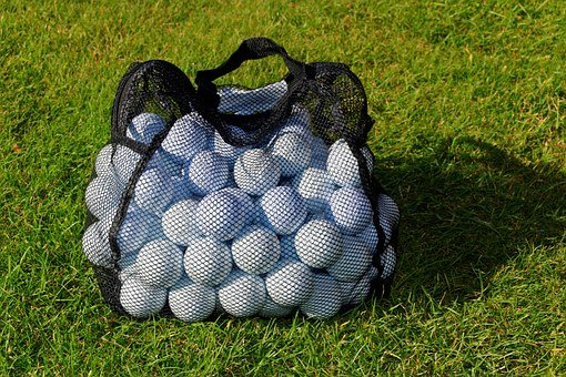 Golf Balls, Practice Balls, Net, Bag, Golf, Grass
