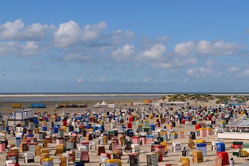 Beach, Clubs, Main Beach Borkum, North Sea, Holiday
