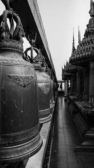 Bell, Black And White, Tiger Cave Temple, Kanchanaburi